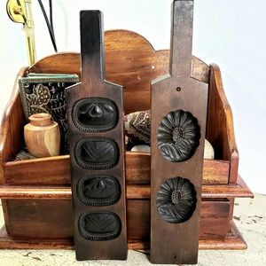 Two Vintage German Wooden Cookie Molds